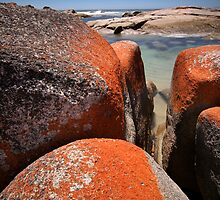 Granite boulders, Binalong Bay, NE Tasmania by Doug Thost