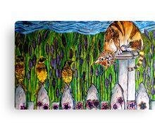 Three Blind Birds - WOODCUT Canvas Print