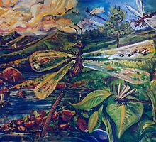 Dragonflies (Acrylics)- by Robert Dye