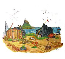Holy Island boat sheds Photographic Print