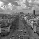 Paris Skyline in B&W by Kalena Chappell