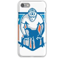 American Cyclist Riding Bicycle Cycling Shield Retro iPhone Case/Skin