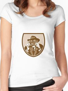 Photographer Shooting Camera Shield Retro Women's Fitted Scoop T-Shirt