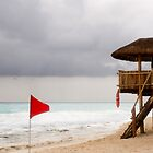 Red Flag and Lifeguard Stand by dbvirago