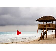Red Flag and Lifeguard Stand Photographic Print