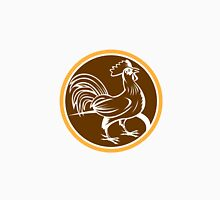 Chicken Rooster Side Circle Woodcut Unisex T-Shirt