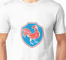 Chicken Rooster Side Shield Woodcut Unisex T-Shirt