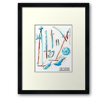 Arcaron: 12 cristal weapons Framed Print