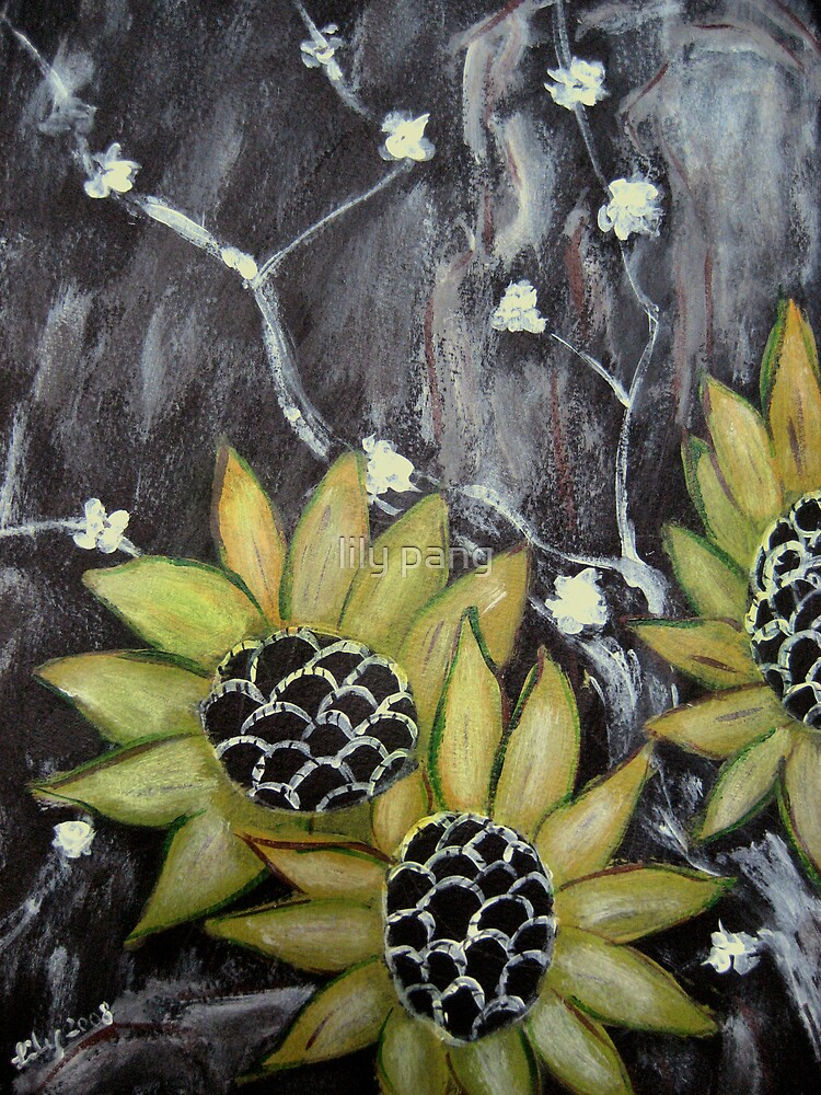 Flowers in black background original acrylic painting by for Acrylic painting on black background