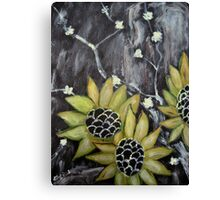 Flowers in black background original acrylic painting Canvas Print
