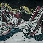 Abstract Female Nude (Monoprint)- by Robert Dye