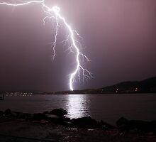 Lightning Strike, Ralphs Bay, Tasmania by David Jamrozik