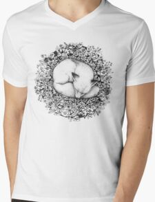 Fox Sleeping in Flowers Mens V-Neck T-Shirt