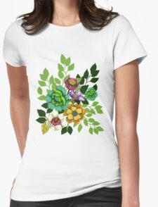 Flower Hand drawn Print Womens Fitted T-Shirt