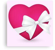 Valentine Pink Heart Canvas Print