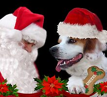 I'M JUST HAPPY HANGING OUT WITH SANTA FESTIVE CANINE PICTURE AND OR PILLOW OR TOTE BAG by ✿✿ Bonita ✿✿ ђєℓℓσ
