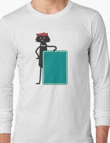 Funny black cartoon cat Long Sleeve T-Shirt