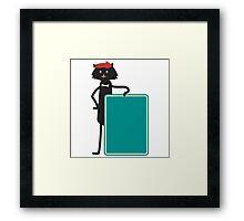 Funny black cartoon cat Framed Print