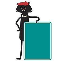 Funny black cartoon cat Photographic Print