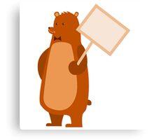 Adorable brown cartoon bear Canvas Print