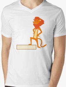 Funny cartoon lion Mens V-Neck T-Shirt