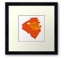 Funny smiling head of a cartoon lion  Framed Print