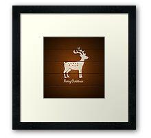 deer on wooden background Framed Print