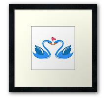 Two cartoon swans in love Framed Print