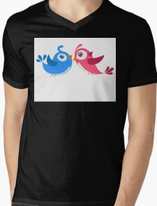 Two cartoon birds in love Mens V-Neck T-Shirt