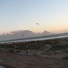 Kiteboarders In Front of Table Mountain by J.L. Calder