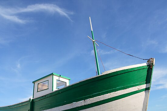 Green old fishing boat by tilo