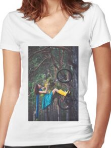 on a bike Women's Fitted V-Neck T-Shirt