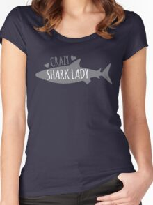 CRAZY Shark lady  Women's Fitted Scoop T-Shirt