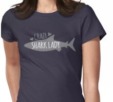 CRAZY Shark lady  Womens Fitted T-Shirt