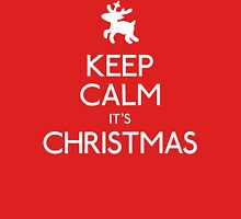 Keep calm it's Christmas with reindeer Womens Fitted T-Shirt