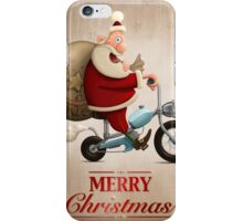 Santa Claus motorcycle delivery Greeting card iPhone Case/Skin