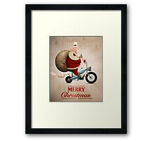 Santa Claus motorcycle delivery Greeting card Framed Print