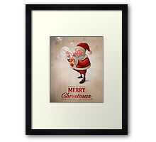 Santa Claus and the bubbles soap Greeting card Framed Print