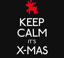 Keep calm it's xmas reindeer Womens Fitted T-Shirt