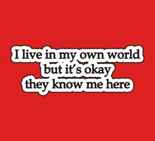 I live in my own world but its okay they know me here by Tammy Soulliere