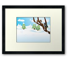 Birds on branch Framed Print