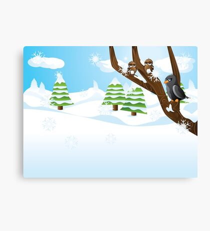 Birds on branch Canvas Print