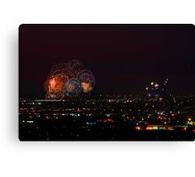 Australia Day Fireworks Over Perth Canvas Print