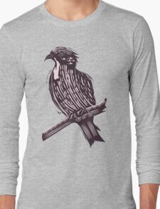 Bird in Hand Drawn Style Long Sleeve T-Shirt