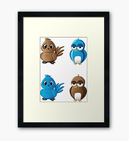 Brown and blue birds Framed Print