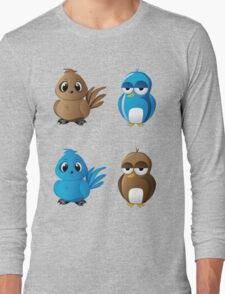 Brown and blue birds Long Sleeve T-Shirt