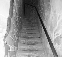 Up those steep old stairs..... by Justine Humphries