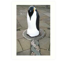 Penguin nesting on mosaic Art Print