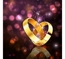 Romantic background with wedding rings 5 Photographic Print