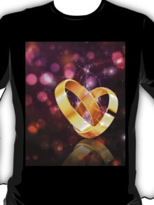 Romantic background with wedding rings 5 T-Shirt